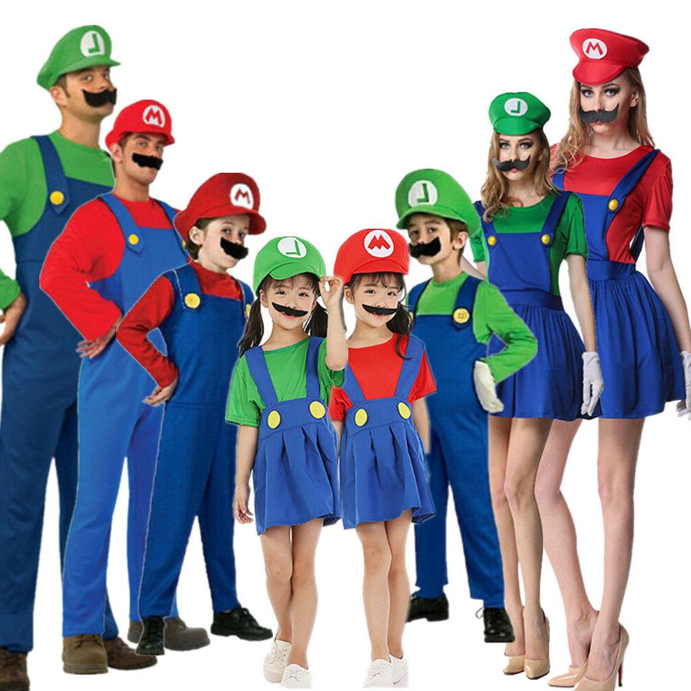 Adult Kids Super Mario Costume Luigi Bros Plumber Brothers F