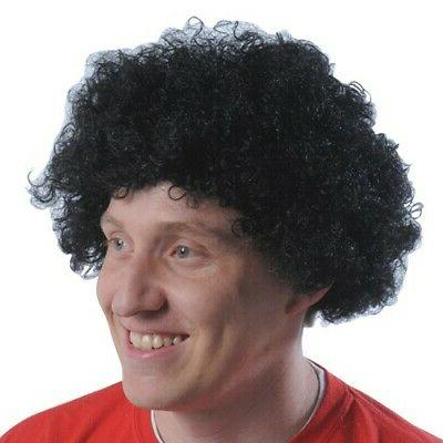 Black Curly Fro Wig Afro Adult Mens Andre The Giant 70's Cos