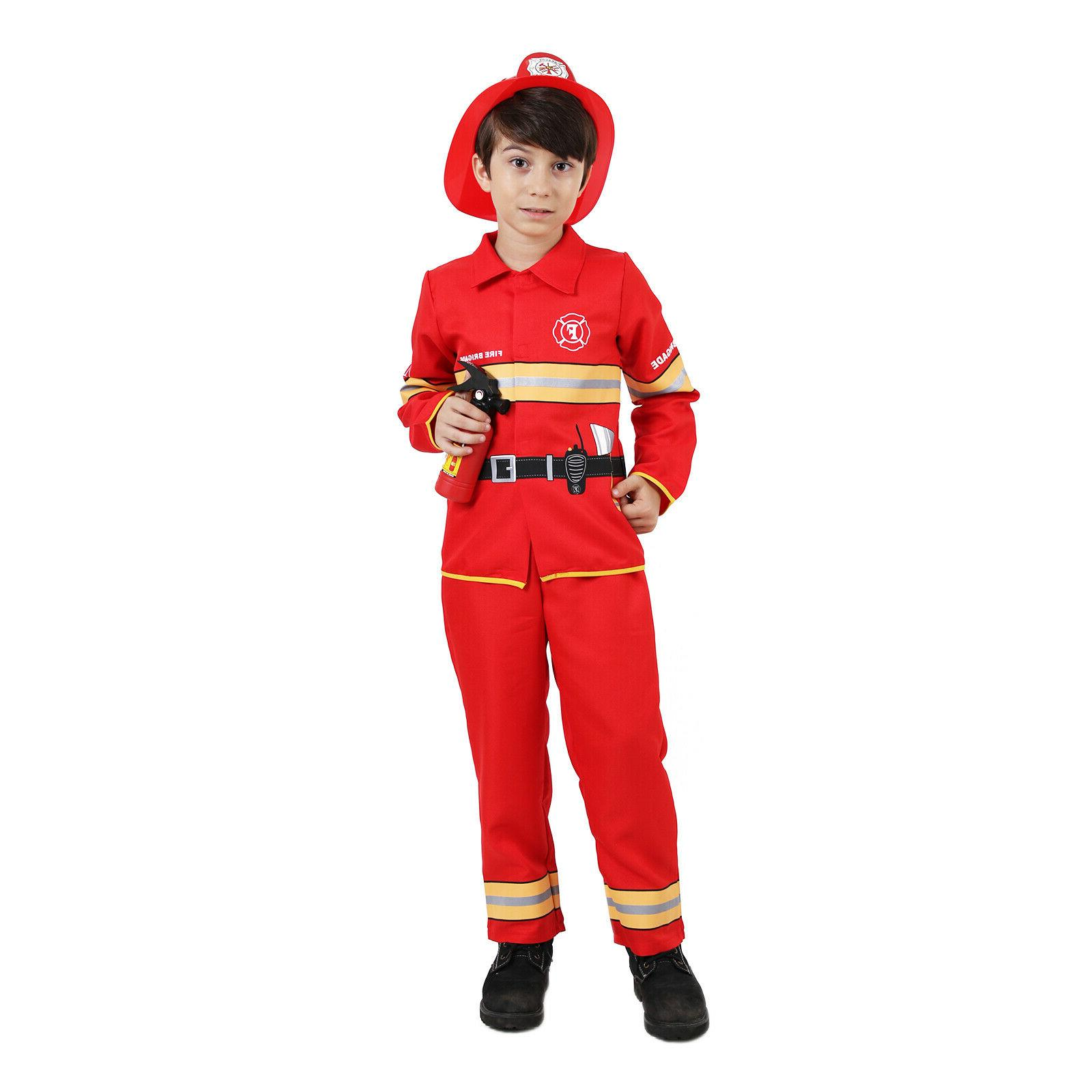 🔥Boys Fireman Costume Kids Fighter Role Play Uniform