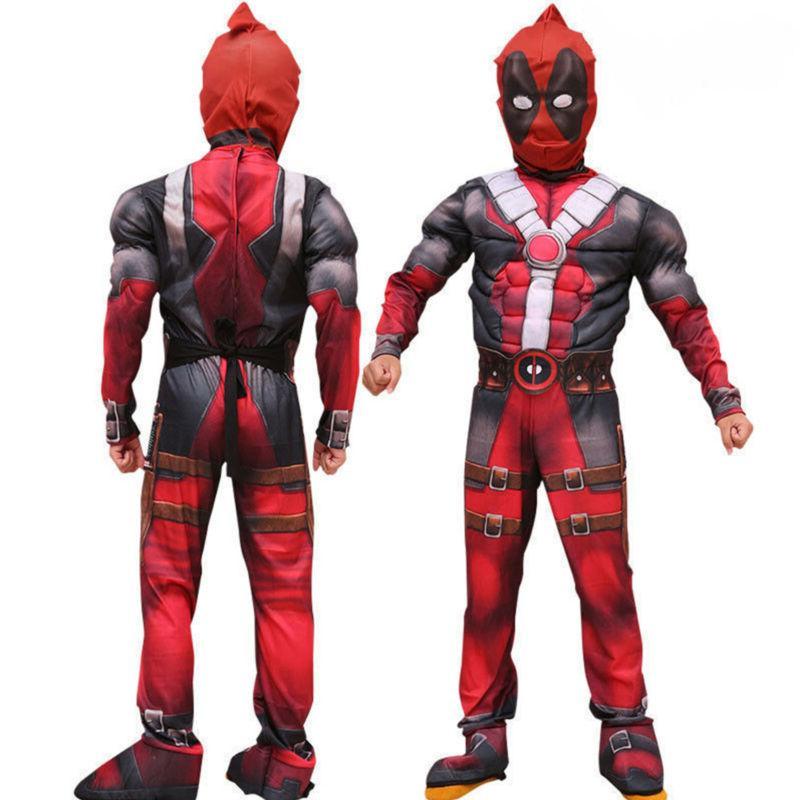 Boys Kids Super Hero Deadpool Jumpsuit Mask Cosplay Costume