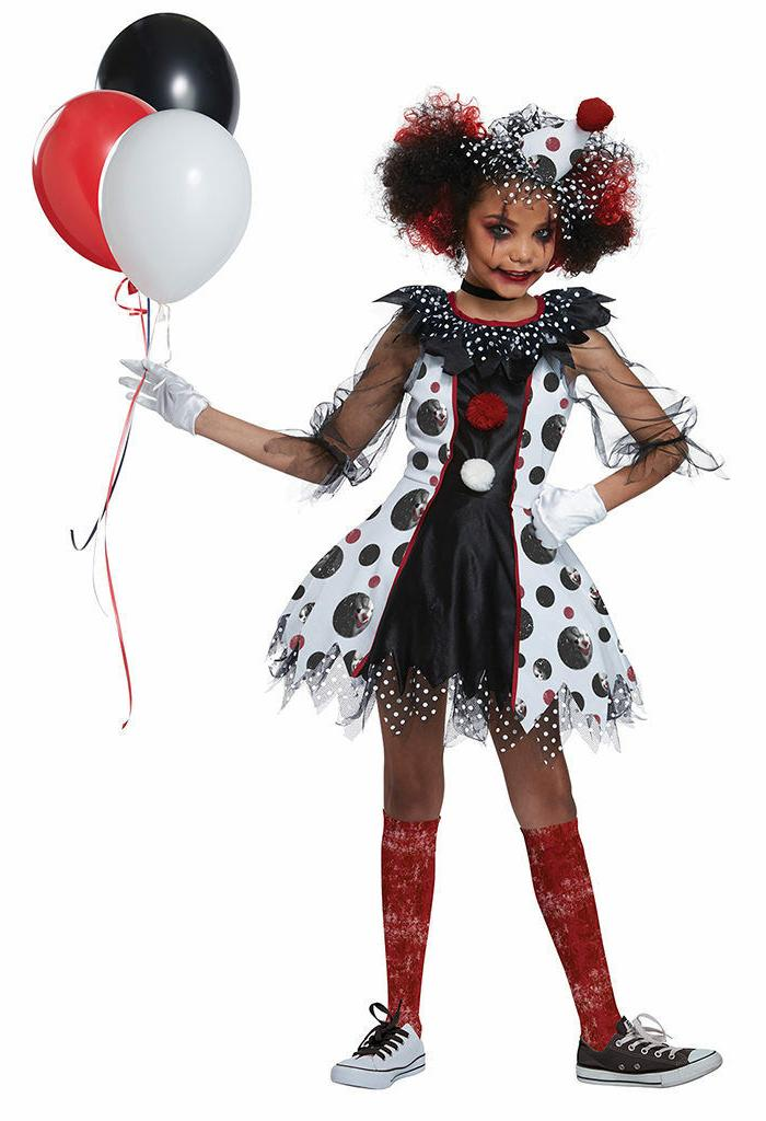 California Costumes Creepy Clown Red Balloon Child Girls Hal