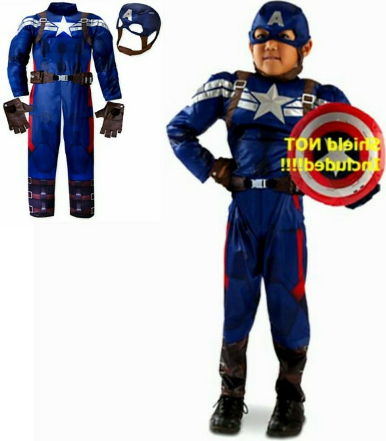 Captain America Muscle Deluxe Costume 5-6 7-8 New Child Disn