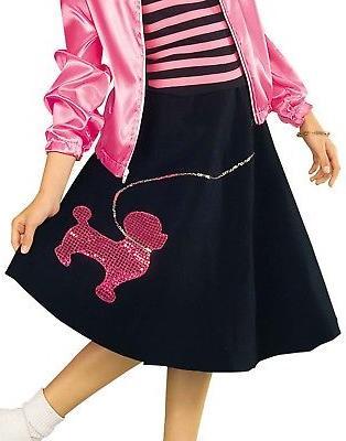 child girls black 50s poodle skirt dancer