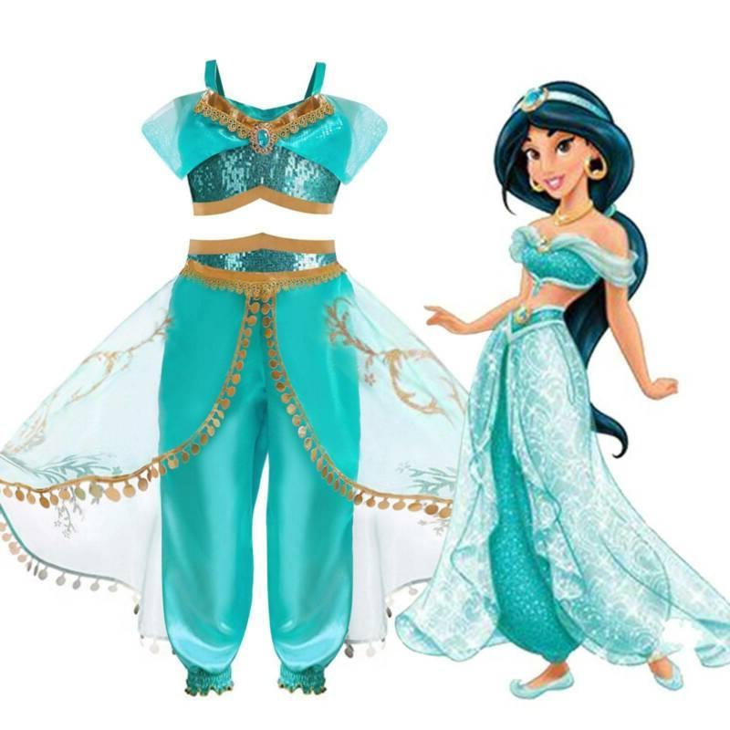 Aladdin Jasmine Princess Costume Arabian Dress for Halloween