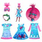 Child Trolls Poppy Troll Fancy Dress Costume & Wig Hair Kids