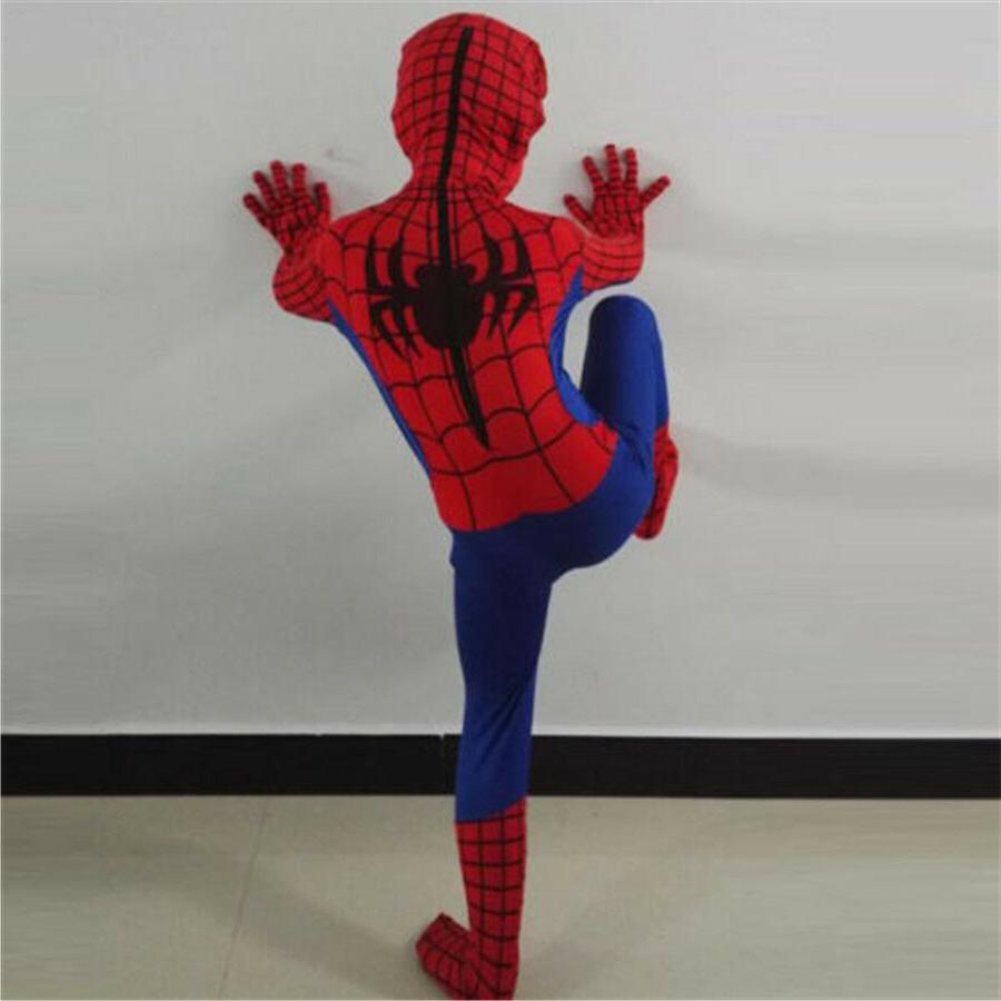 Children Christmas Party Spiderman Superhero Cosplay Bodysuit