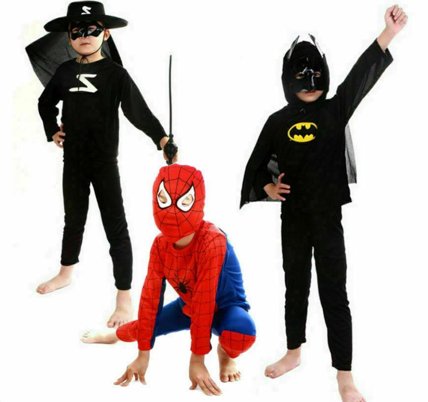 children superhero anime costume spiderman batman boys