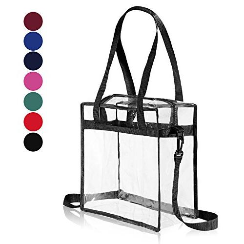 9ac3b45b07c8 Clear Bag NFL & PGA Stadium Approved - The Clear Tote Bag with Zipper  Closure is Perfect for Work, Sports Games.Cross-Body Messenger Shoulder Bag  w ...