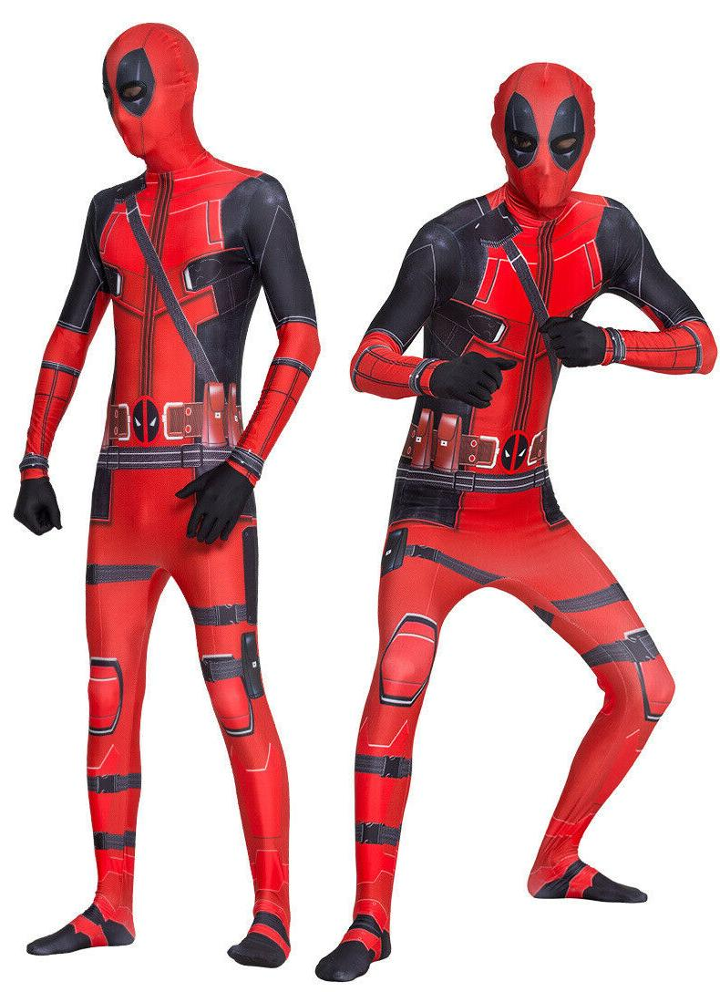 US Deadpool Cosplay Jumpsuits Kids Spandex Bodysuits Without