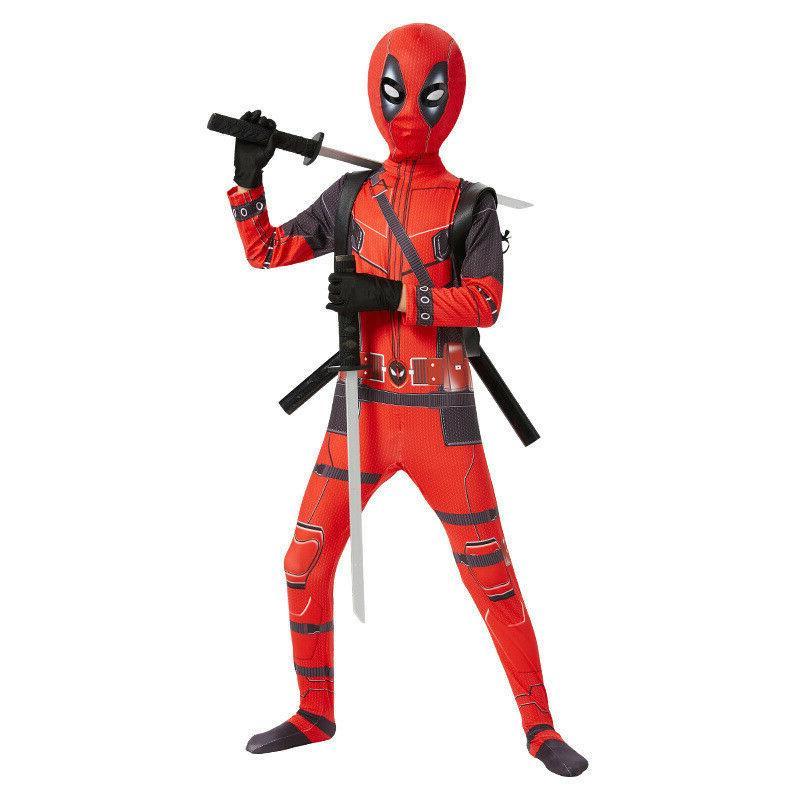 US Deadpool Cosplay Costume Jumpsuits Kids Boys Spandex Body