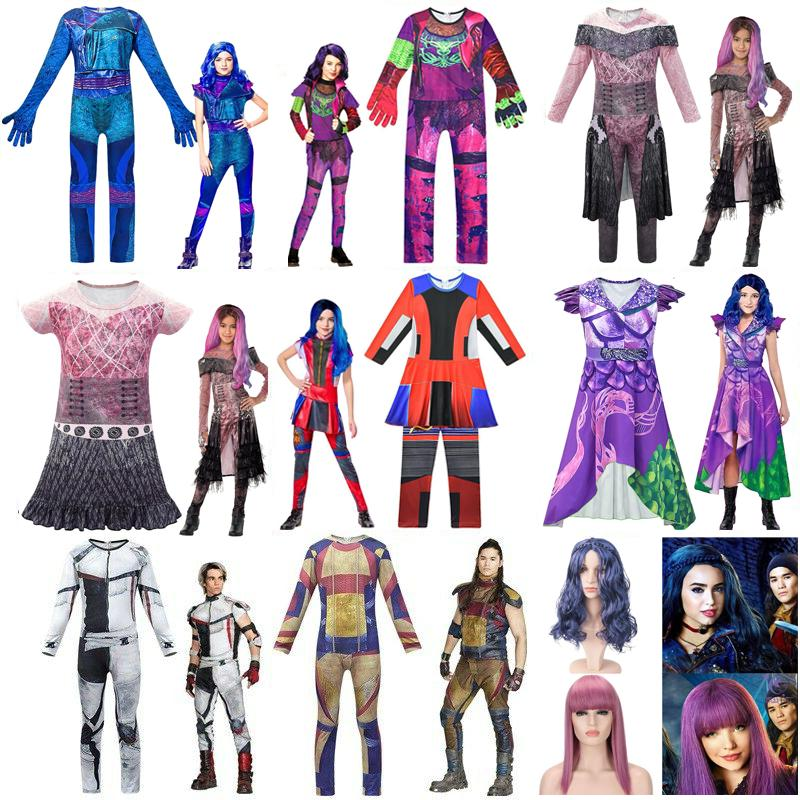 Kids Descendants 3 Audrey Mal Cosplay Costume Wigs New Years