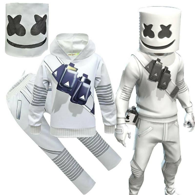 DJ Marshmallow Costume Kids Boy Hoodie Pants Mask Cosplay Fa