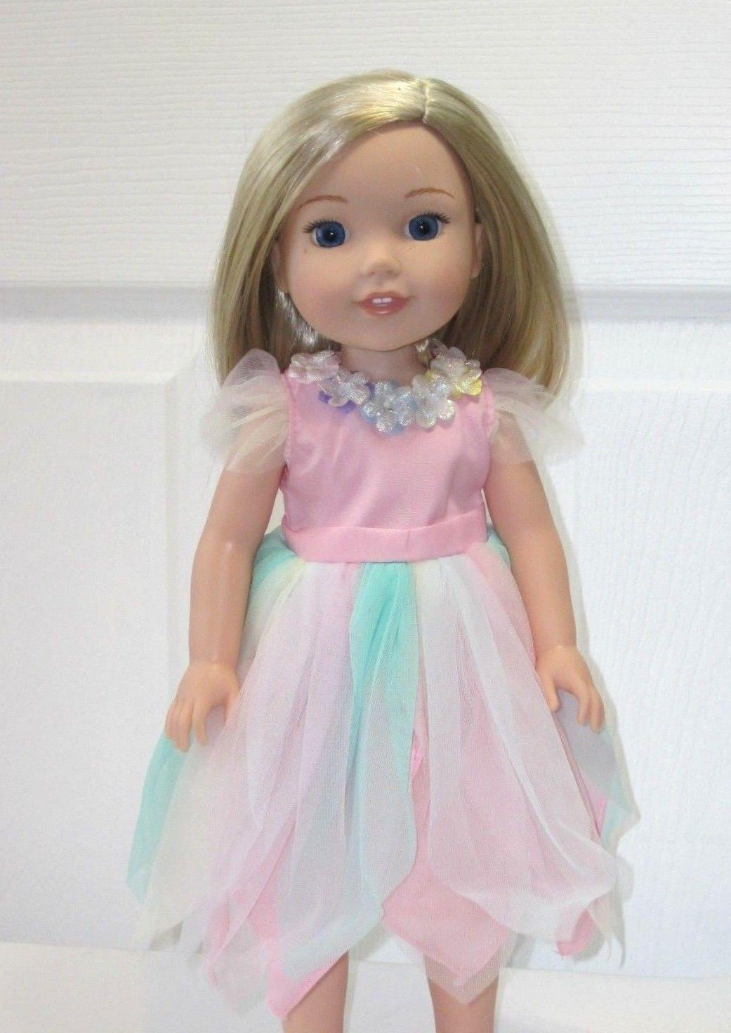 """Doll Clothes Pastel Tinkerbell Fairy Costume For 14.5/""""  Wellie Wishers 3 PC Set"""