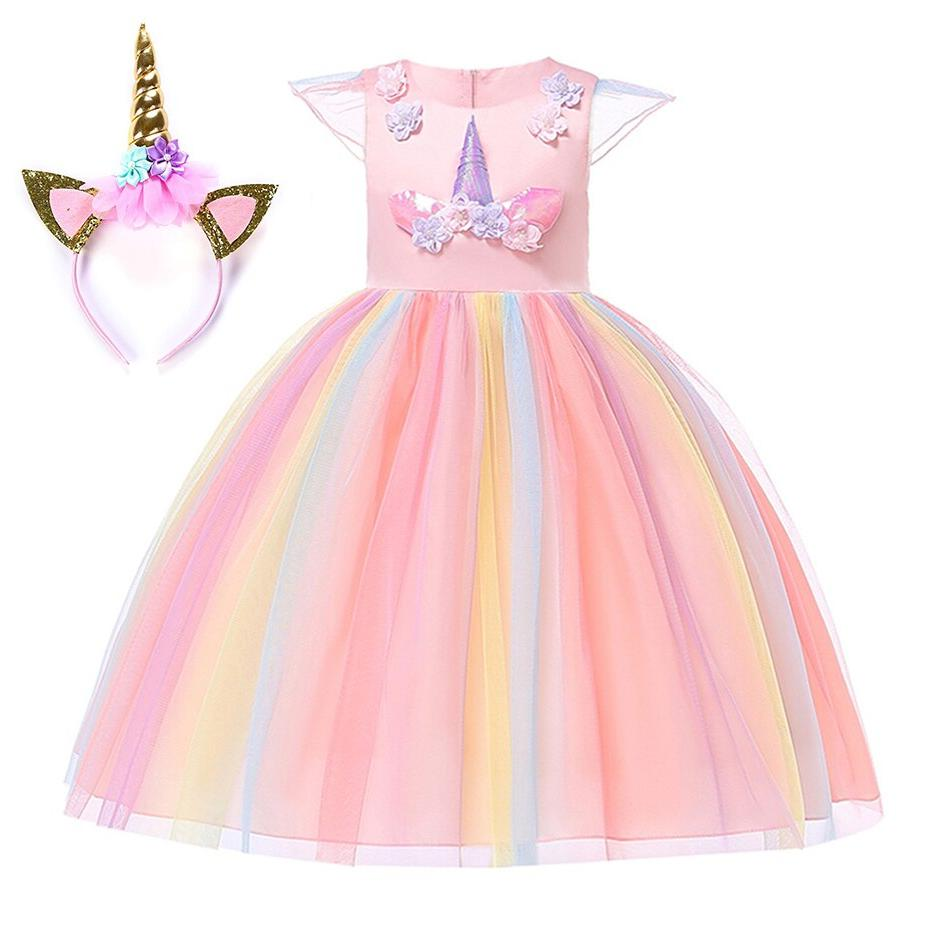 <font><b>Costume</b></font> Gown Cosplay Princess Birthday Unicorn Party Fancy