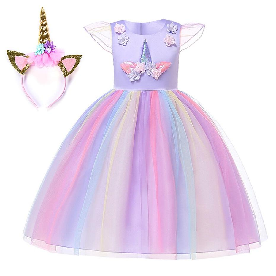 <font><b>Girls</b></font> Dress <font><b>Costume</b></font> Halloween Gown Cosplay Princess Unicorn Fancy Dresses
