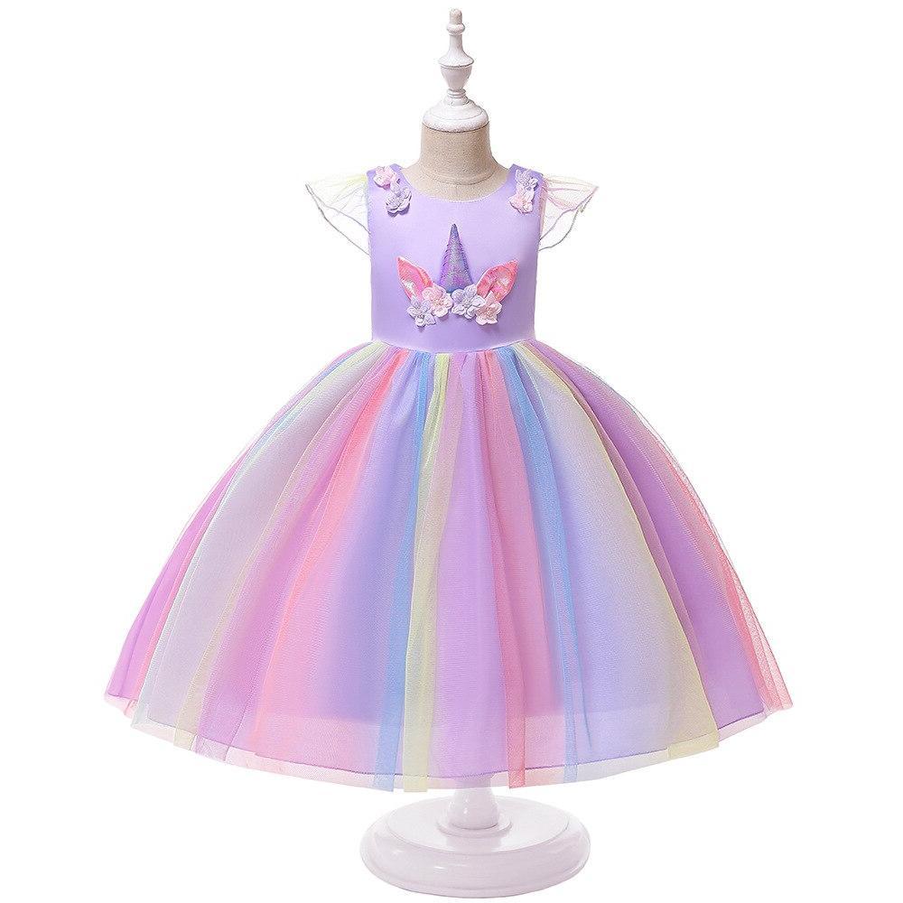 <font><b>Girls</b></font> Dress <font><b>Costume</b></font> Ball Cosplay Princess <font><b>Kids</b></font> Unicorn Wigs Fancy Dresses