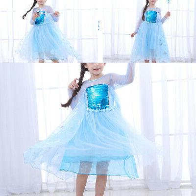 Frozen Queen Princess Dress Fancy Girls