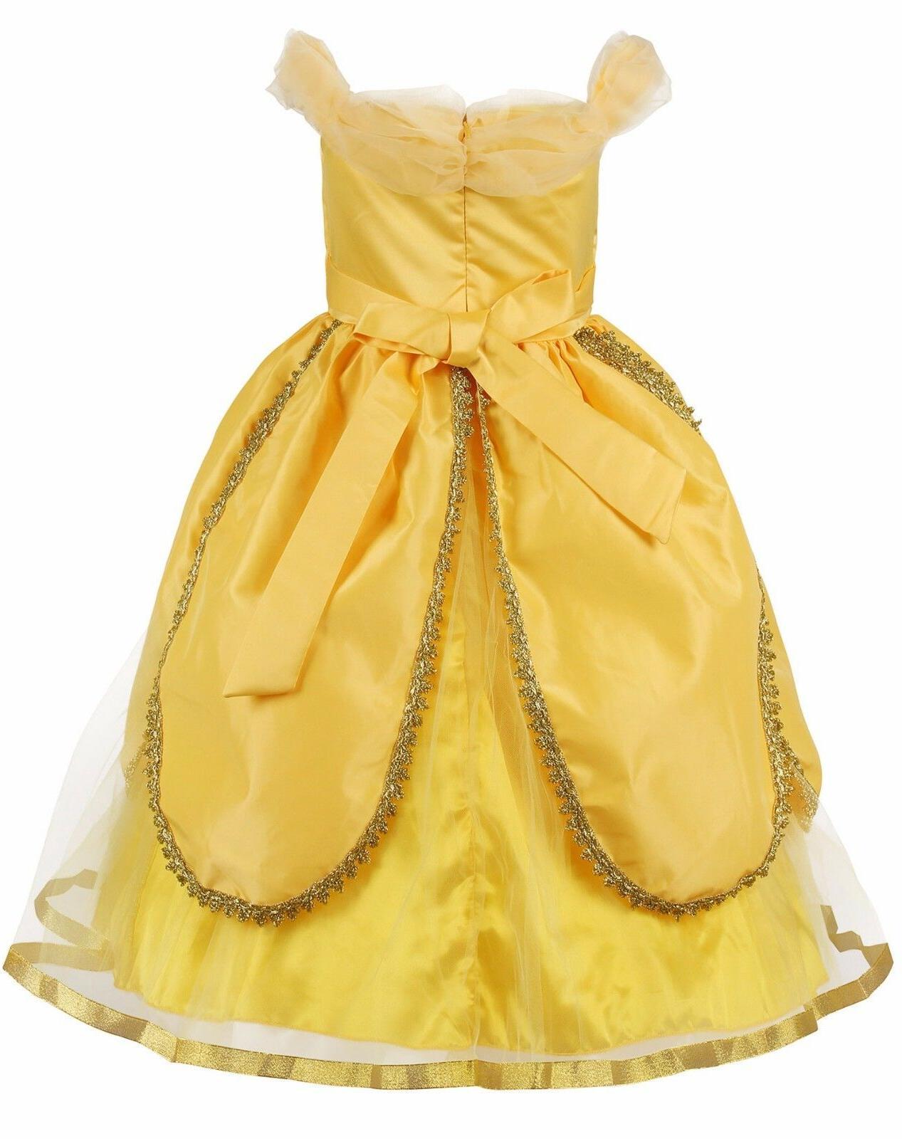 Girls Cosplay Princess Dress Yellow Ball Party Dress