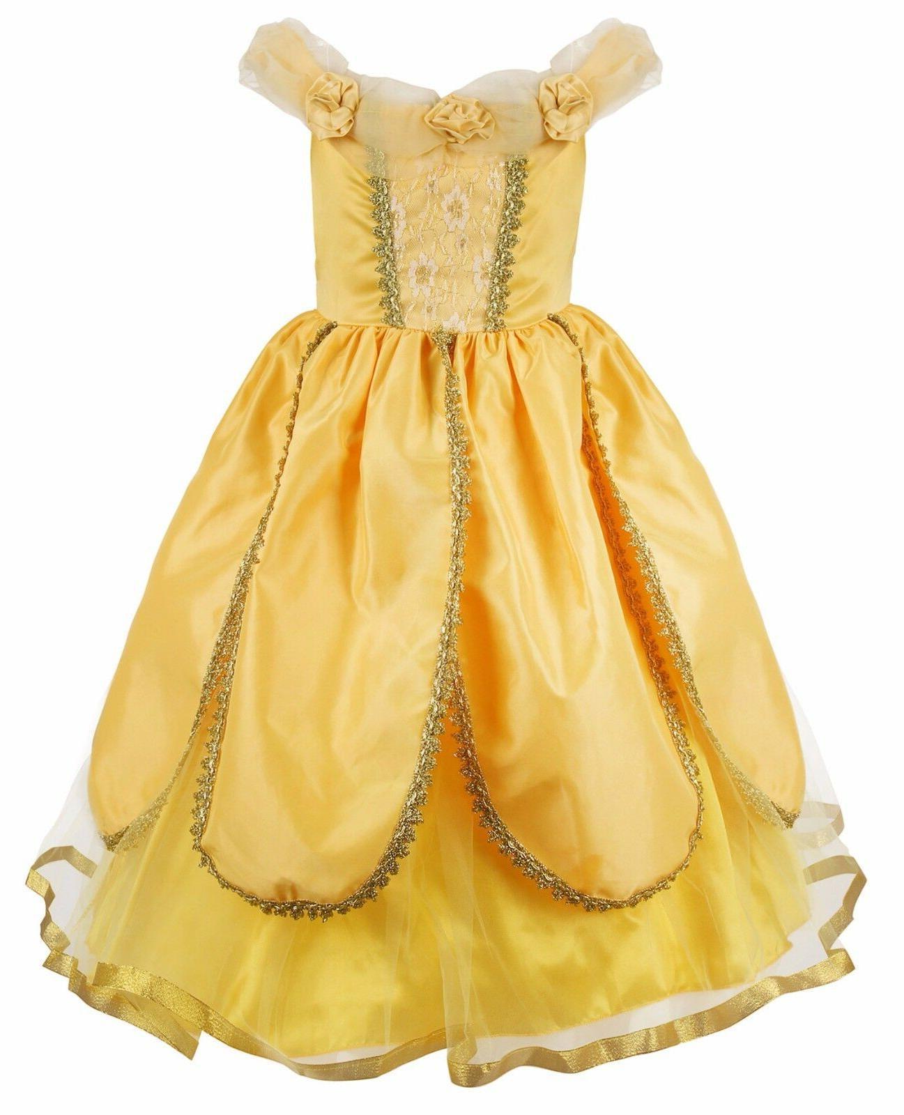 girls belle cosplay princess dress fancy costumes