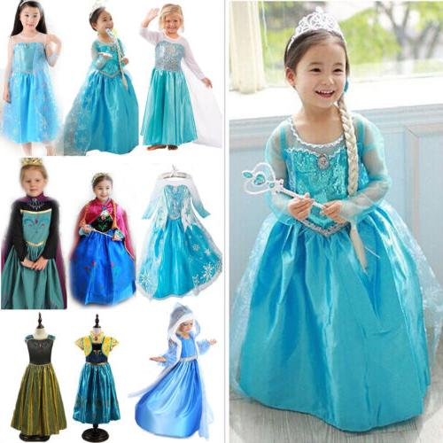 Toddler Kids Girl Anna Elsa Fancy Dress Up Costume