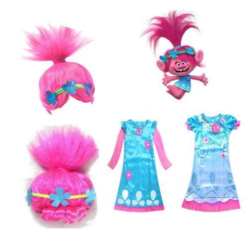 For Girls Kids Trolls Poppy Princess Dress Cosplay Costumes