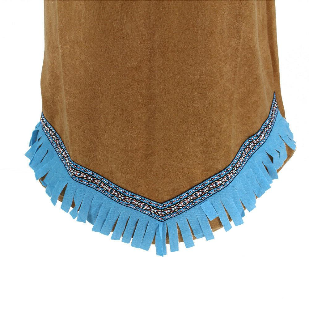 Girls Native Brown Red Indian Fancy Dress