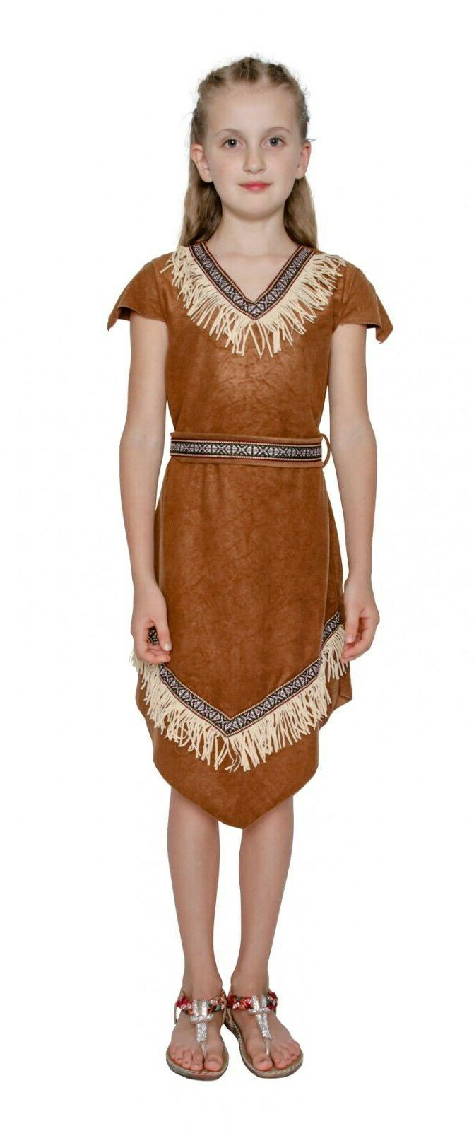 Girls American Brown Red Indian Squaw Dress Up Kids