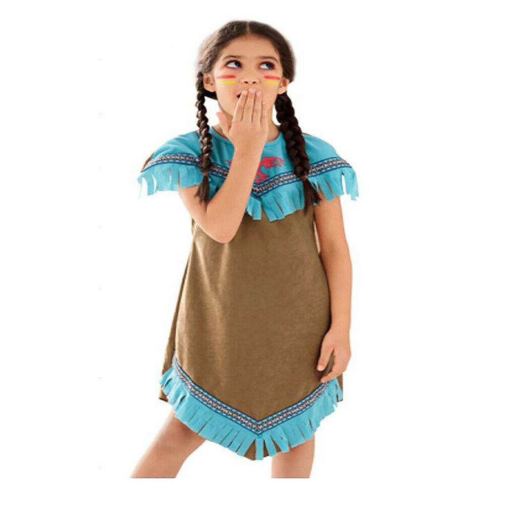Girls Red Indian Squaw Dress Up Kids Costume