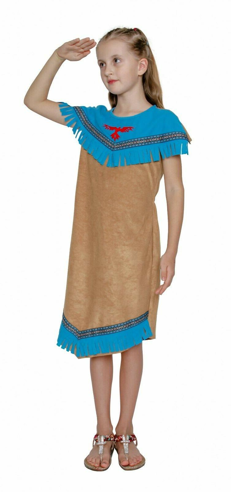 Girls Red Indian Squaw Dress Costume