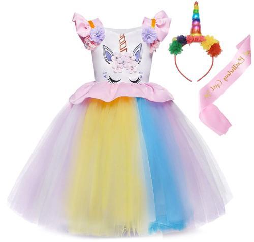 AmzBarley Girls Unicorn Costume Dress Kids Birthday Party Ou