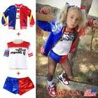 Hot Kids Girls Suicide Squad Harley Quinn Coat Shorts Set Ha