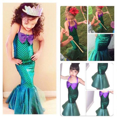Kids Ariel Little Set Girl Dress Costume Swimsuit