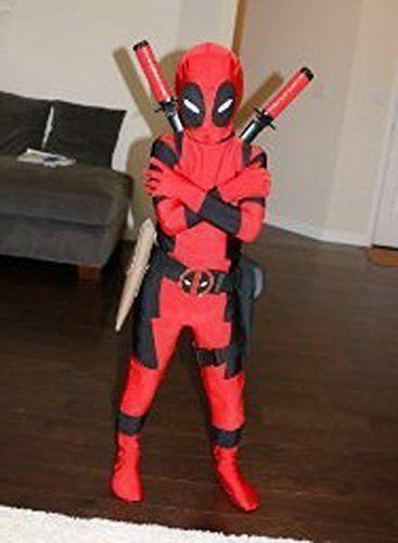 Kids Boys Child Deadpool Zentai Superhero Costume Cosplay Fa
