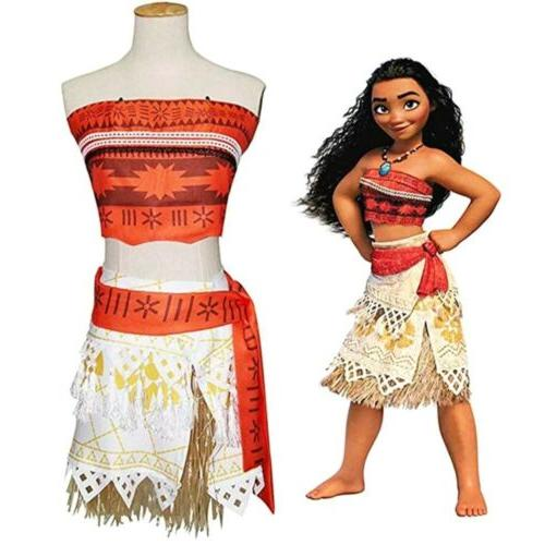 kids costume moana princess girls dress cosplay