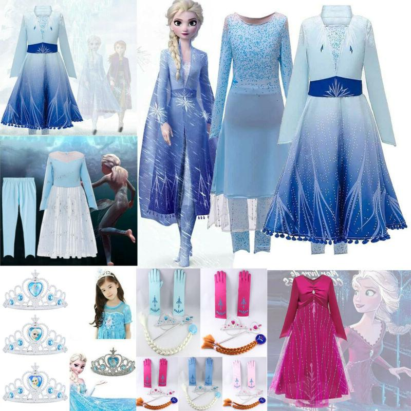 kids girl elsa dress snow princess party
