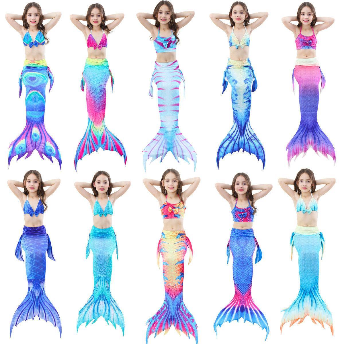 kids girl mermaid tail bikini set swimmable