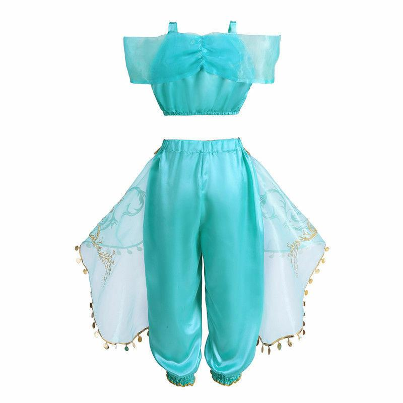 Aladdin Princess Jasmine Kid Cosplay Party Girl Fancy Dress Costume Outfit Gifts
