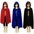 Kids Girls Boys Hooded Velvet Cape Cloak Halloween Fancy Dre