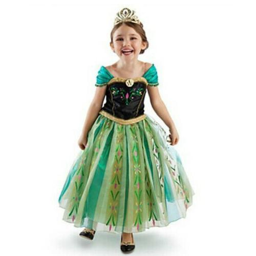 Kids Anna Princess Costume Girls Cosplay Party Wedding Hallo