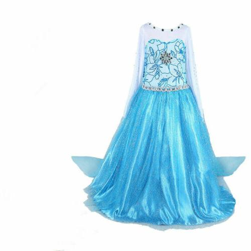 Kids Girls Elsa Frozen Dress + Wand Tiara Crown Party
