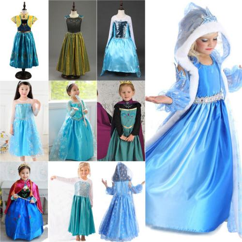 Snow Queen Elsa Princess Anna Dress Up Kids Girls Fancy Cost