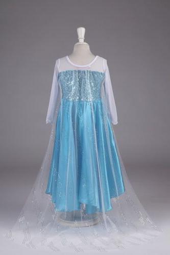 Kids Girls Frozen Anna Maxi Dress Party Dresses