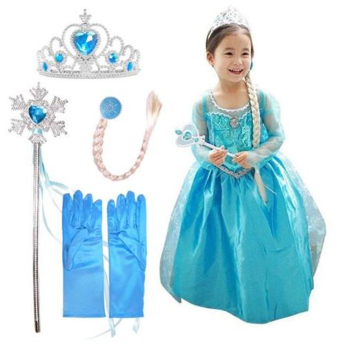 Girls Princess Elsa Costumes Fancy Dress Kids Fairy Tale Cos