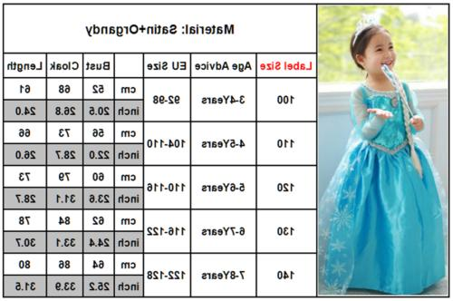 Girls Elsa Costumes Fancy Dress Tale