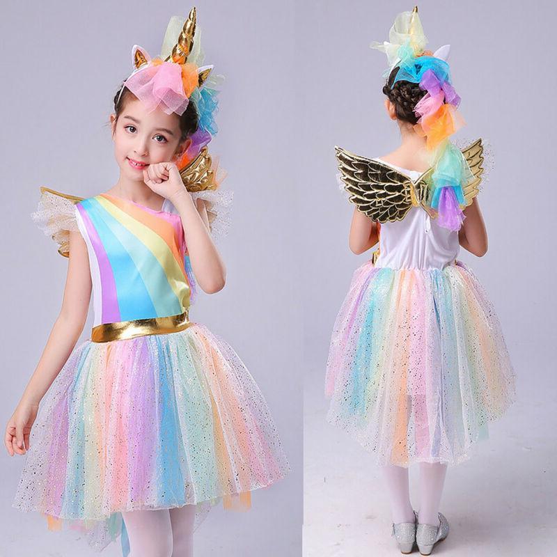 baby kids girls unicorn party cosplay costume