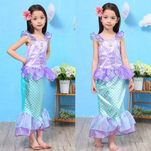 Kids Ariel Cosplay Costume Party Fancy Dress Up US