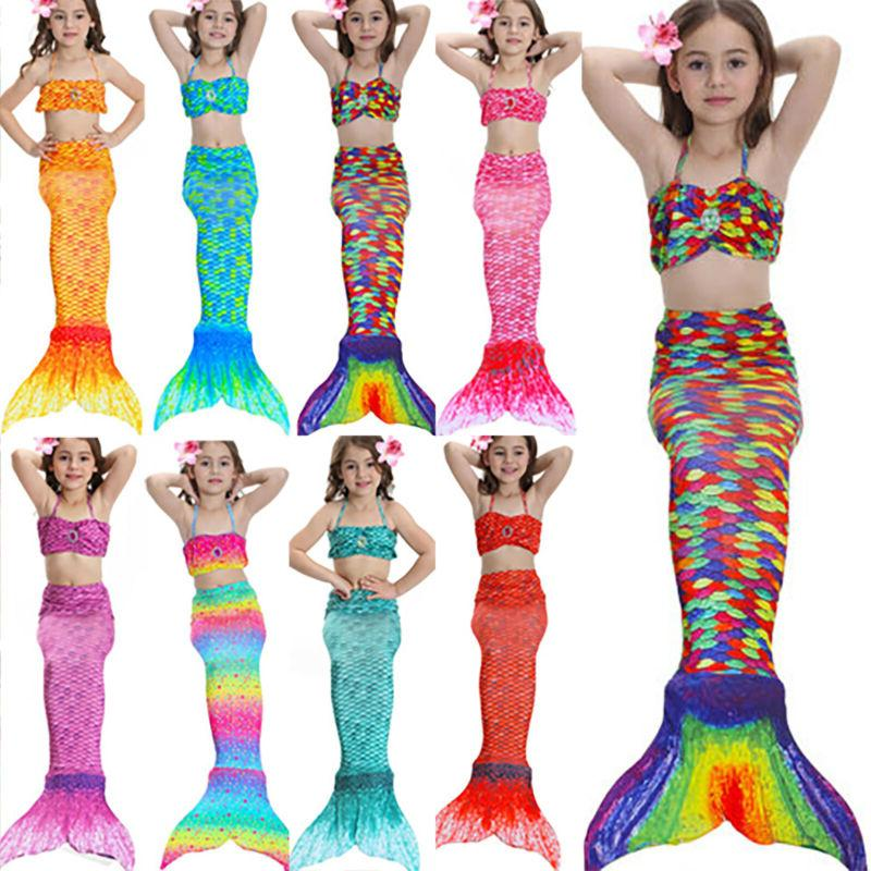 kids girls mermaid tail swimwear bikini sets