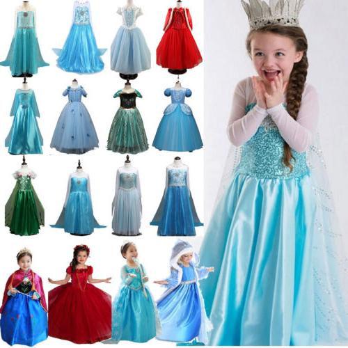 Kids Elsa Snow Queen Anna Princess Dress Up Girl Cosplay Fan