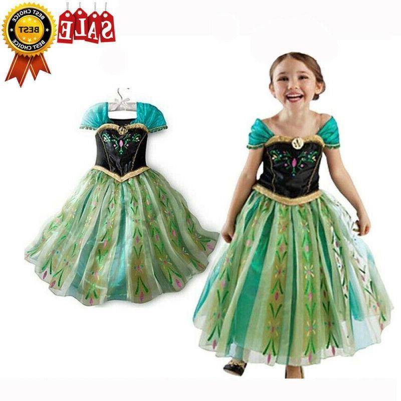 Kids Girls Fairytale Dress Costume Belle Cinderella Aurora Rapunzel☆