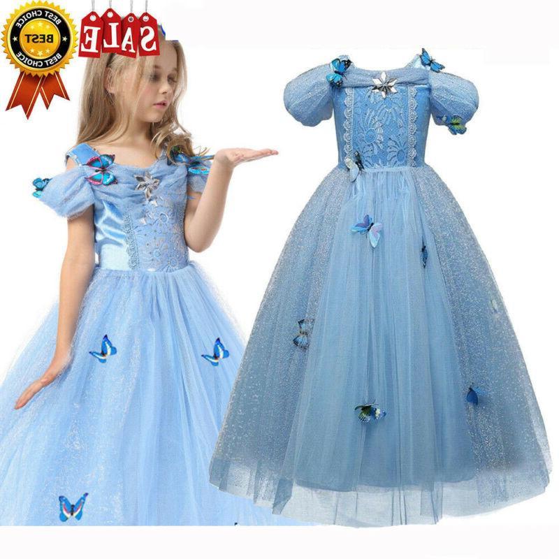 Kids Girls Princess Dress Cinderella Aurora
